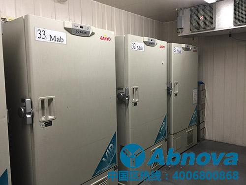 Abnova -80度超低温冷冻冰箱一角。总共200多台的-80度超低温冰箱确保了Abnova高品质的蛋白、抗体以及抗体对产品的品质!当然实时的温度监控和报警程序也必不可少。