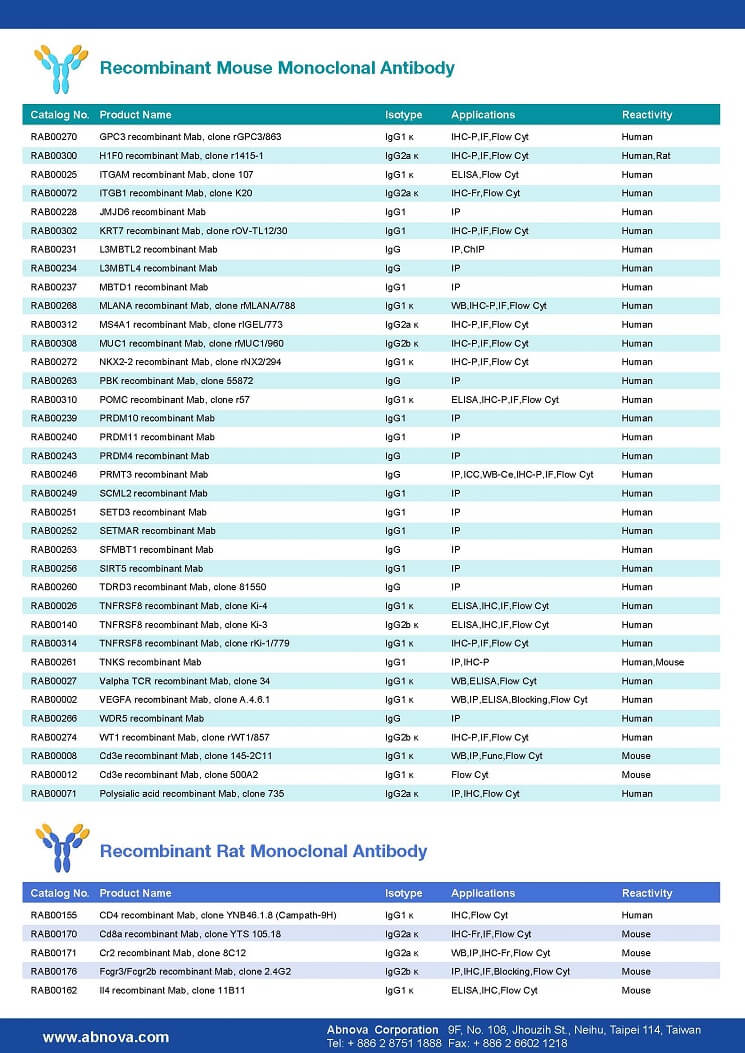 Abnova重组抗体