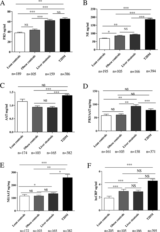 2型糖尿病患者的PR3和NE浓度上调
