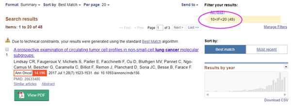 检索文献后,可点击右侧的Filter按钮,即可获得您需要的IF范围的文章