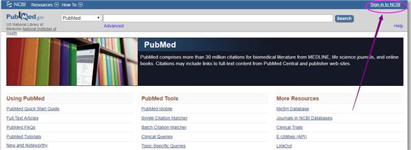 打开PubMed网站,进入登录界面